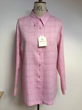 Mulberry Baby Pink 100% Linen Blue Checked Boyfriend Shirt New With Tag Uk 18