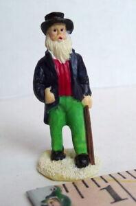 Grandeur Noel Victorian Village  Bearded Man Walking Cane 1995 vintage accessory