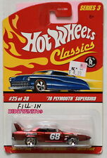 HOT WHEELS CLASSICS SERIES 3 '70 PLYMOUTH SUPERBIRD #25/30 RED