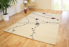 SMALL- LARGE CREAM MODERN FLORAL PETAL NON-SHED GOOD QUALITY SOFT SALE PRICE RUG
