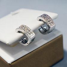 Sterling Silver 925 2 Row Diamante Huggie Earrings