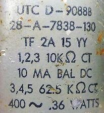 VINTAGE UTC  OUTPUT TRANSFORMER 10K OHM PRIMARY @  62.5K OHMS C.T.