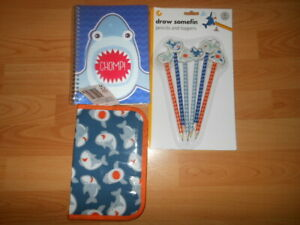 NOTEPAD AND PENCIL CASE MATCHING SHARK DESIGN PENCIL AND TOPPER FREEBIE STICKERS