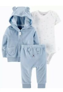 Carters 3 Piece Set Jacket Pant Body Baby Boy Clothes Blue Bear 6 Mo New W/ Tags