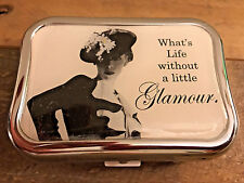 Contact Lens Case-Metal with Compact Mirror and Glamour Lady Design Bausch Case