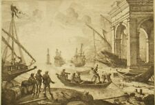 A. Durand after Claude Lorrain antique signed copper etching 'Lighthouse' 1800s