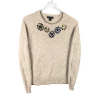 J.Crew Womens Jeweled Donegal Lambswool Sweater Size S Beige Long Sleeve Knit
