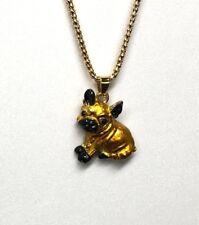 Betsey Johnson Necklace French Bull Dog Gold Enamel  Gift Box Organza Bag LK