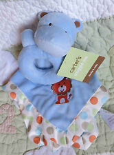 Carter's Blue Plush Snuggle Me Lion Baby Security Blanket w Hippo Rattle Toy NWT