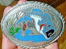 VINTAGE TURQUOISE CORAL FISH BASS PIKE BELT BUCKLE SSI ssi 88 - FREE SHIPPING
