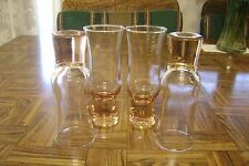 Lot of 4 Pink Champagne or Juice Glasses Toasting Flutes Solid Bases Tulip Shape