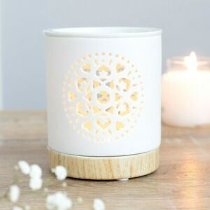 White Ceramic Mandala  Cut Out Oil Burner Wax Melt Burner Great Gift Idea
