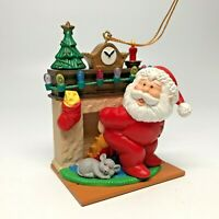 Vtg Christmas Ornament Santa Warms His Bottom in Front of the Fireplace! 1997