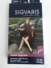 SIGVARIS Support Hoisery STOCKINGS 15-20 Knee Hi Size Small Taupe