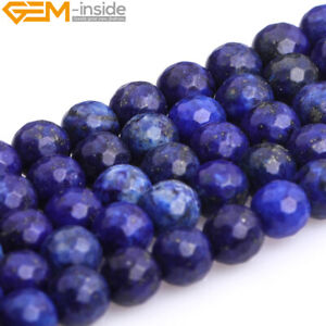 """Faceted Blue Lapiz Lazuli Round Beads Jewelry 15"""" Dyed 4mm 6mm 8mm 10mm 12mm"""