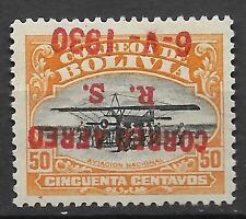 BOLIVIA 1930  GRAF ZEPPELIN 50 c Sc # c 17 MINT, Inverted $$$$$