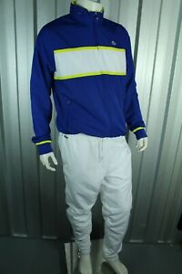 BNWT LACOSTE WH2081 SPORT TENIS WHITE / BLUE FULL TRACKSUIT SIZE 5 L RRP £185