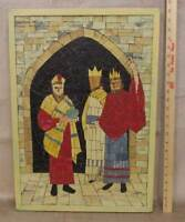 "3 Wise Men Kings Mosaic Collage Folk Art Hanging Picture Christmas Nativity 24"""
