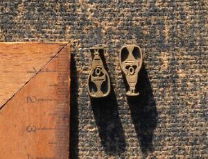 2 x Messing Ornament Buchbinden Prägen Buchbinder Prägestempel geometrisch Art