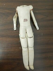 """Antique Imitation Leather 15"""" Doll Body w/Bisque Lower Arms, Cloth Lower Legs"""