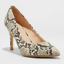 Women's Gemma Snake Print Pointed Toe Block Heeled Pumps - A New Day