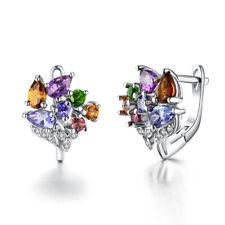 Natural tourmaline tanzanite amethyst 925 sterling silver stud earrings women's