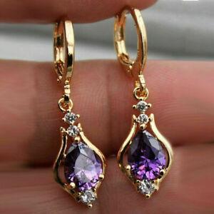3.50Ct Pear Cut Purple Amethyst Drop & Dangle Earrings In 14k Yellow Gold Finish