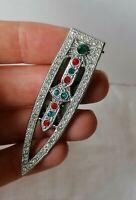 Antique Art Deco Green Red Paste Silver Machine Age DRESS / Paper / Money CLIP
