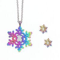 Colorful New Cartoon Bear Snowflake Pattern Necklace Earrings Women Jewelry Set