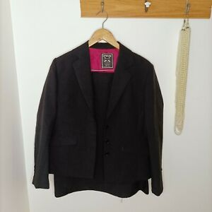 Cathouse Rivers 14 L Skirt Suit Blazer Jacket Black Office Business Tailored Set