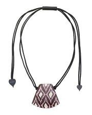Zsiska Ikat Brown and Purple Pendant Necklace on Adjustable Rope