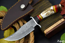 Custom Damascus Steel Hunting Knife Handmade With Stag Horn Handle (Z445)