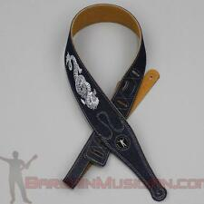 Denim / Leatherette Guitar / Bass Strap - Embroidered Dragon - Adjustable Sizing