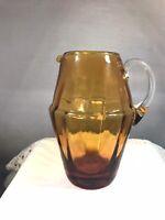 Vintage Art Glass Barrel Shaped Hand Blown Amber Honey Creamer Clear Handle