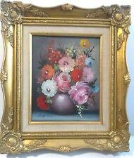 Signed Oil Painting Still Life Floral Flowers in Vase Framed Realism - Milk Ross