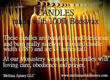 """Holiday-Tapers (6) 14"""" tall(7/8"""")100% Pure Light Beeswax Candles Highest Quality"""