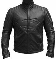 Superman Smallville Man of Steel Shield Genuine Black Leather Jacket