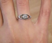 Gorgeous 925 Sterling Silver Rings With Real Indian Rainbow Moonstone - RRP £40