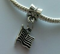 USA Patriotic Flag Dangle Bead for Silver European Bracelet Or Clip On Charm