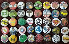 Super Hero's Button Badges x 40. Job lot. Marvel/DC. Pins. Wholesale. Collector.