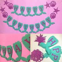 Cute Purple Star Seashell Flag Hanging Buntings for Birthday Party Decor AU