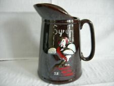 Vintage Rooster Syrup Pitcher Brown Pottery Stoneware Japan