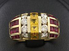 Traumhafter Saphir Rubin Brillant Ring ca. 4,20ct   11,2g 750/- Gelbgold