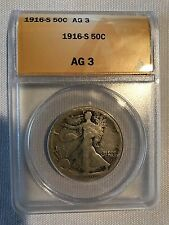 1916 S AG3 Key date/obverse mint mark 50 cent piece. ANACS graded. Insured ship