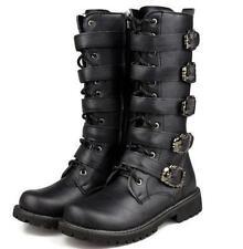 UK Punk Rock new MENS BLACK GOTH PUNK ROCK BAND BUCKLE Combat BOOTS Shoes size 9