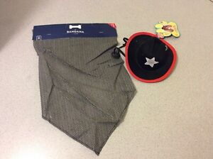 Dog Costume Pet Black and Red Cowboy Hat s/m and Bandana