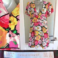 Zara Tea Dress S / UK 8 Rose Print Mini Pink Floral Lined V-Neck Summer S/Sleeve