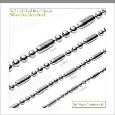 Stainless Steel Silver Ball And Oval Bead Chain Bracelet And Necklace Men Women