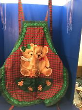 Christmas Cookie Baking Apron Reversible Teddy Bears Gingerbread Boy Girl Plaid