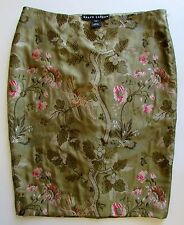 Ralph Lauren Black Label Silk Embroidered Asian Floral Skirt Sz 4
